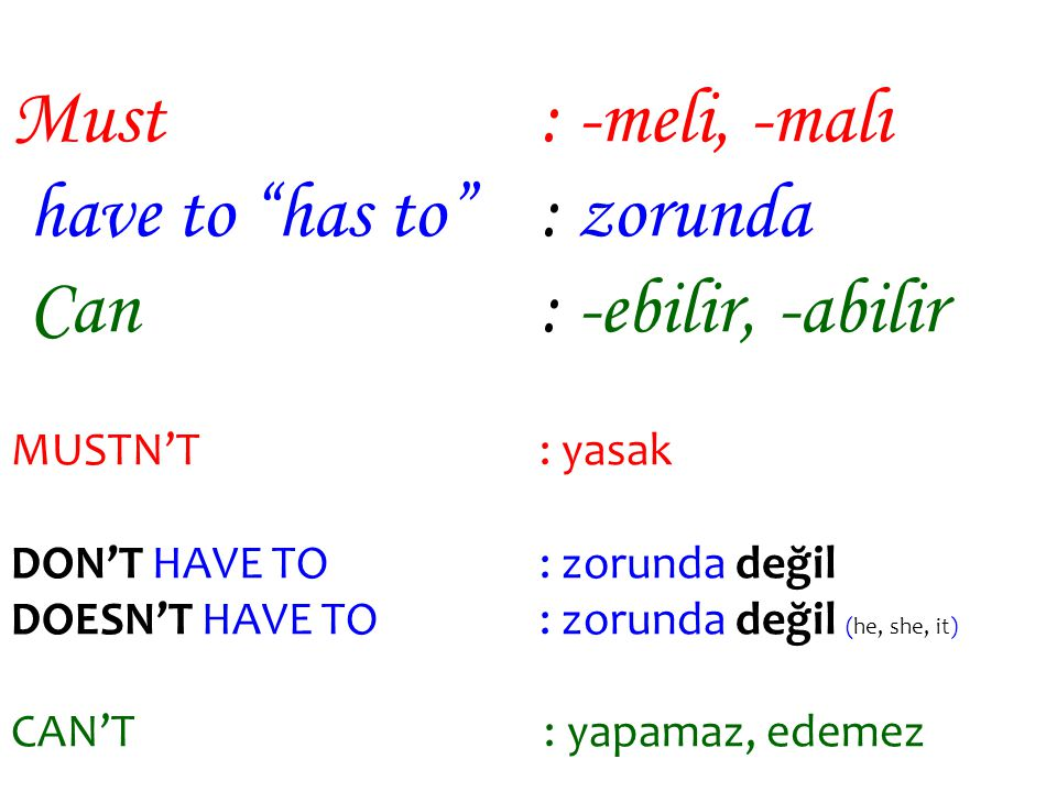 Must. : -meli, -malı have to has to . : zorunda Can