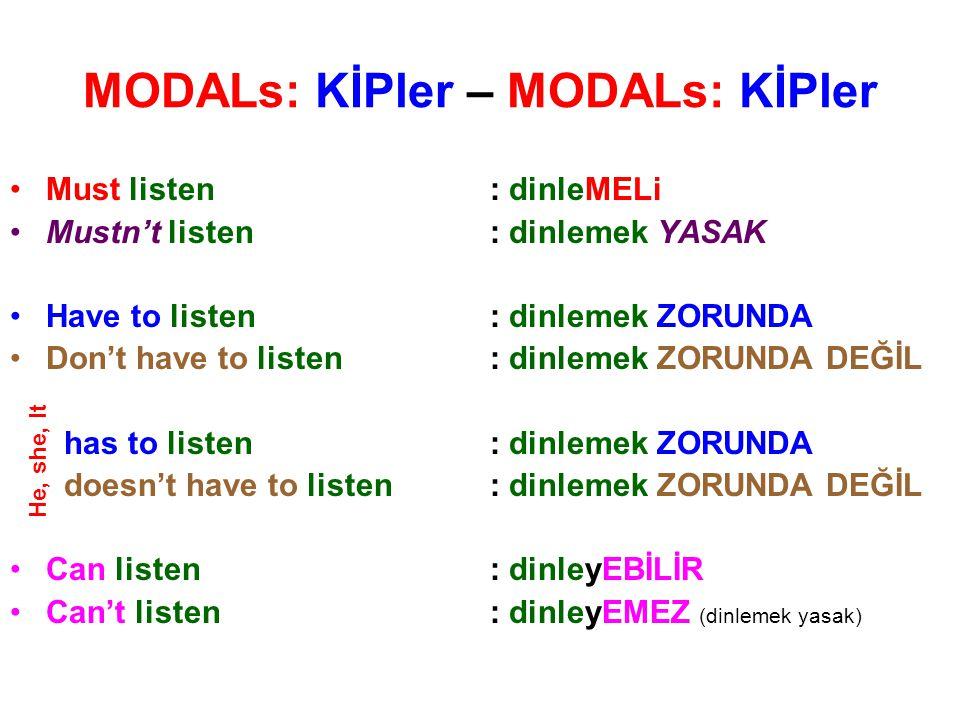 MODALs: KİPler – MODALs: KİPler
