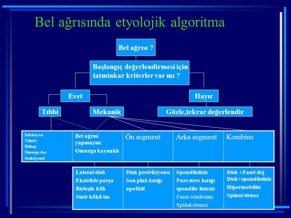 Bel ağrısında etyolojik algoritma