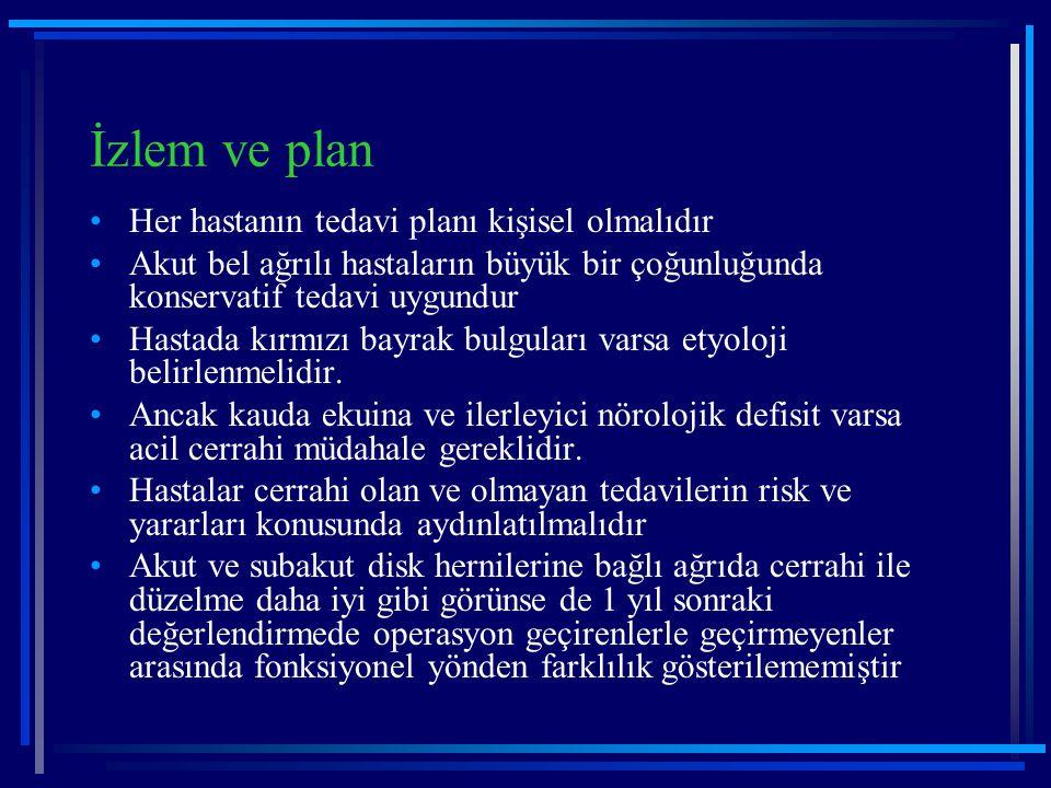 İzlem ve plan Her hastanın tedavi planı kişisel olmalıdır