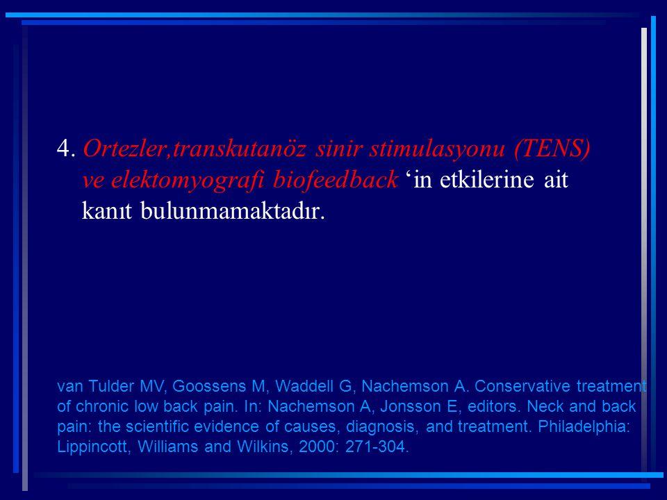 4. Ortezler,transkutanöz sinir stimulasyonu (TENS) ve elektomyografi biofeedback 'in etkilerine ait kanıt bulunmamaktadır.