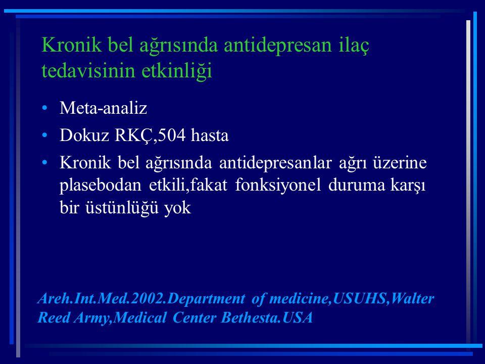 Kronik bel ağrısında antidepresan ilaç tedavisinin etkinliği