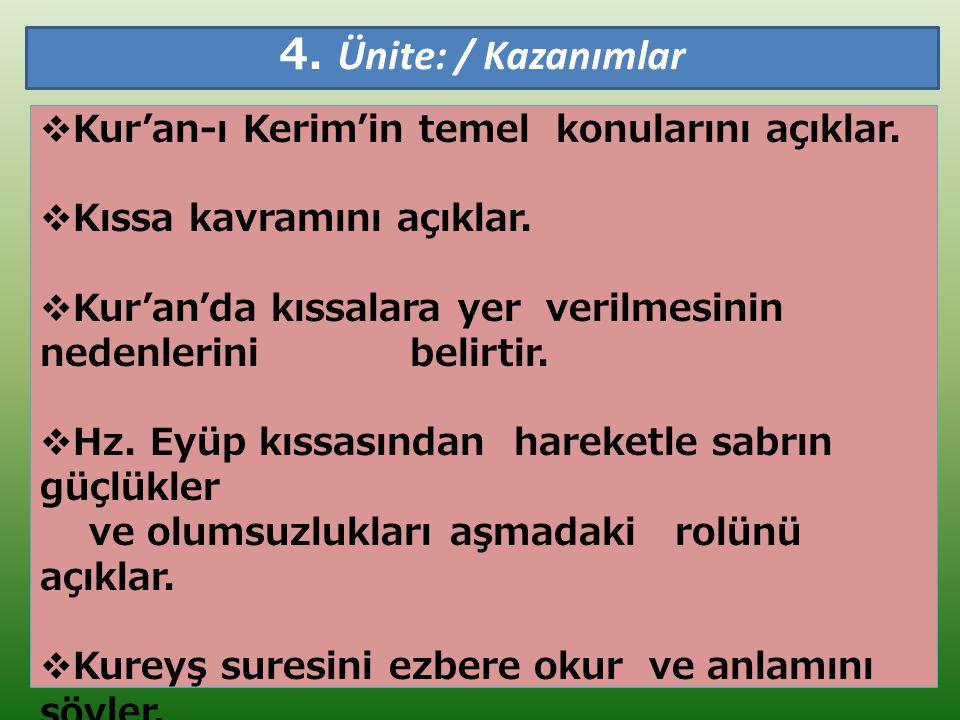4. Ünite: / Kazanımlar Kur'an-ı Kerim'in temel konularını açıklar.