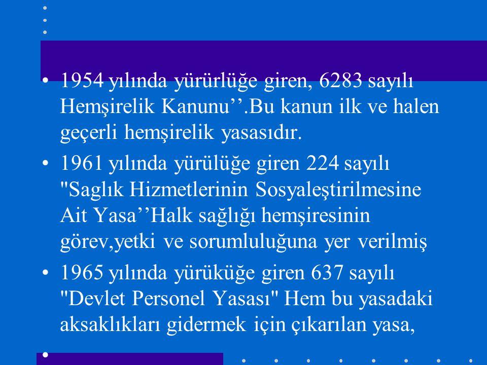 1954 yılında yürürlüğe giren, 6283 sayılı Hemşirelik Kanunu''