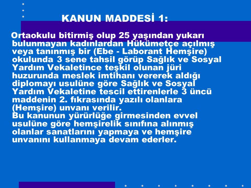KANUN MADDESİ 1: