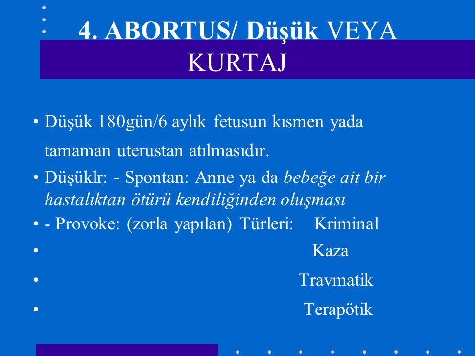 4. ABORTUS/ Düşük VEYA KURTAJ