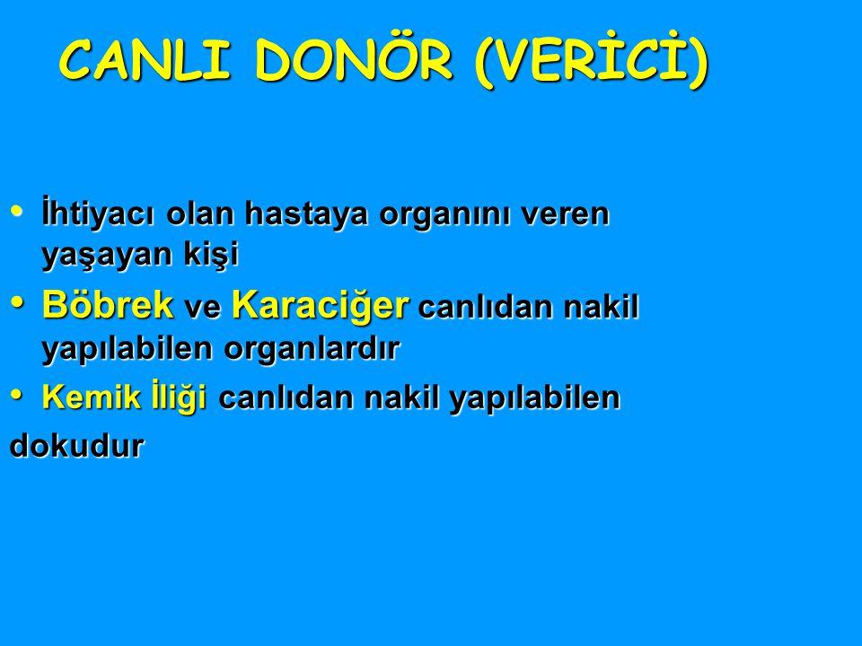CANLI DONÖR (VERİCİ) İhtiyacı olan hastaya organını veren yaşayan kişi. Böbrek ve Karaciğer canlıdan nakil yapılabilen organlardır.