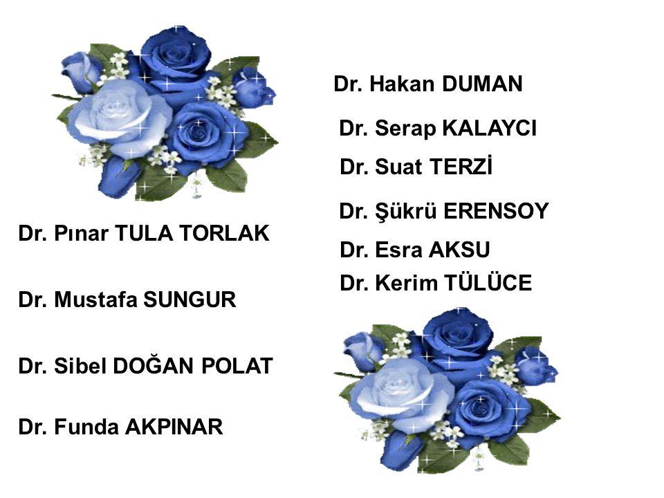 Dr. Hakan DUMAN Dr. Serap KALAYCI. Dr. Suat TERZİ. Dr. Şükrü ERENSOY. Dr. Pınar TULA TORLAK. Dr. Esra AKSU.