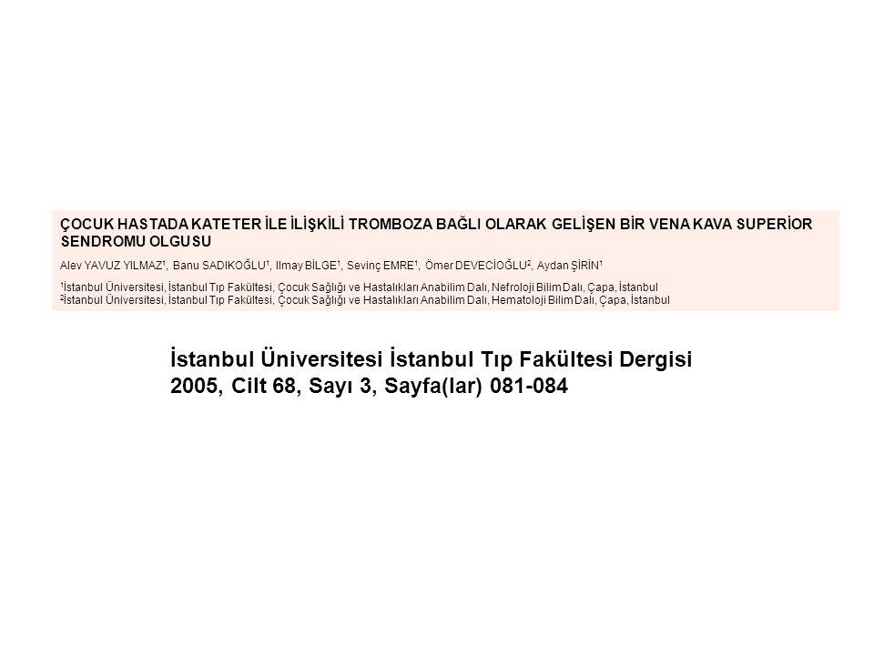 İstanbul Üniversitesi İstanbul Tıp Fakültesi Dergisi