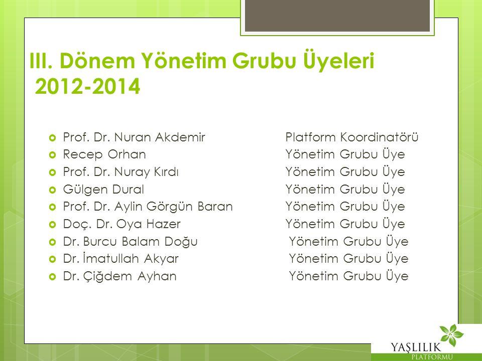 III. Dönem Yönetim Grubu Üyeleri 2012-2014