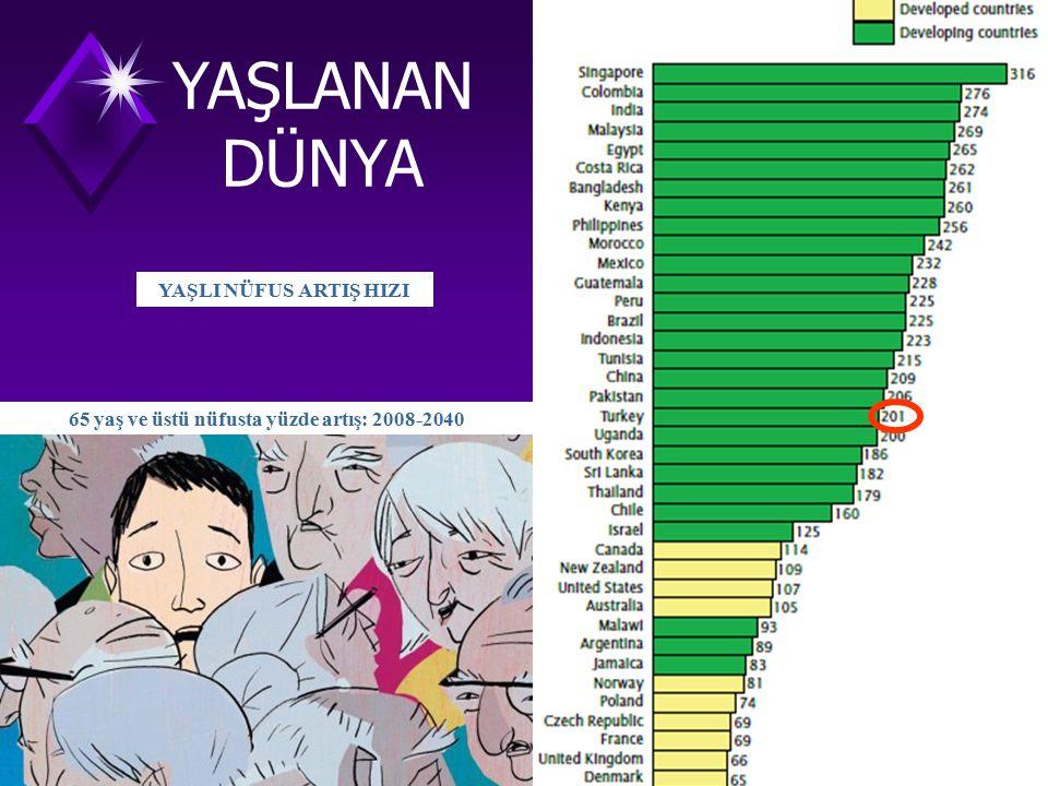 65 yaş ve üstü nüfusta yüzde artış: 2008-2040