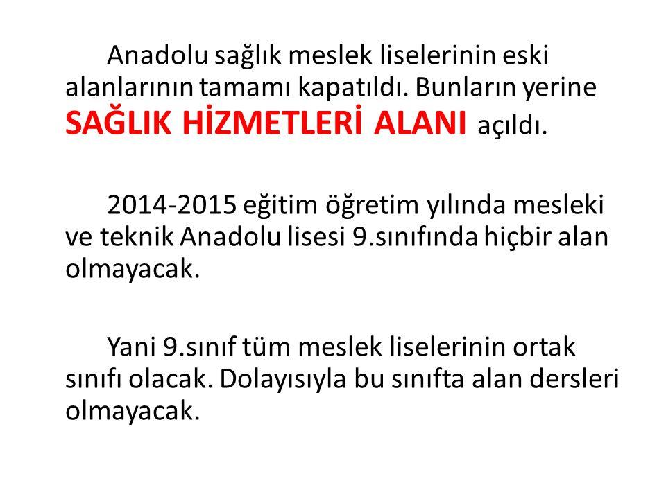 Anadolu sağlık meslek liselerinin eski alanlarının tamamı kapatıldı