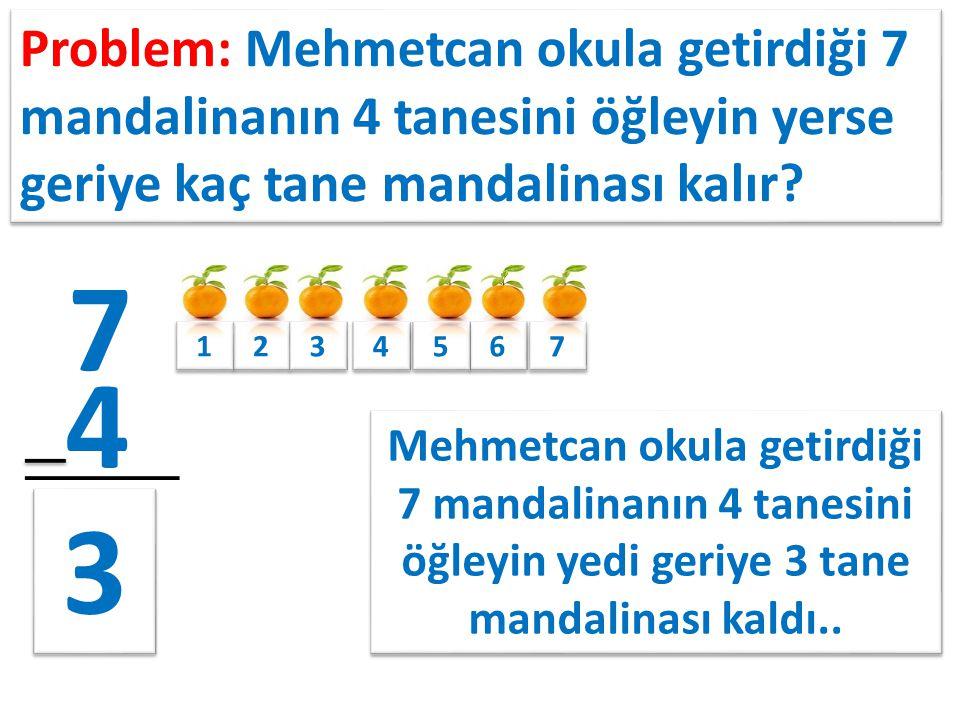 Problem: Mehmetcan okula getirdiği 7 mandalinanın 4 tanesini öğleyin yerse geriye kaç tane mandalinası kalır