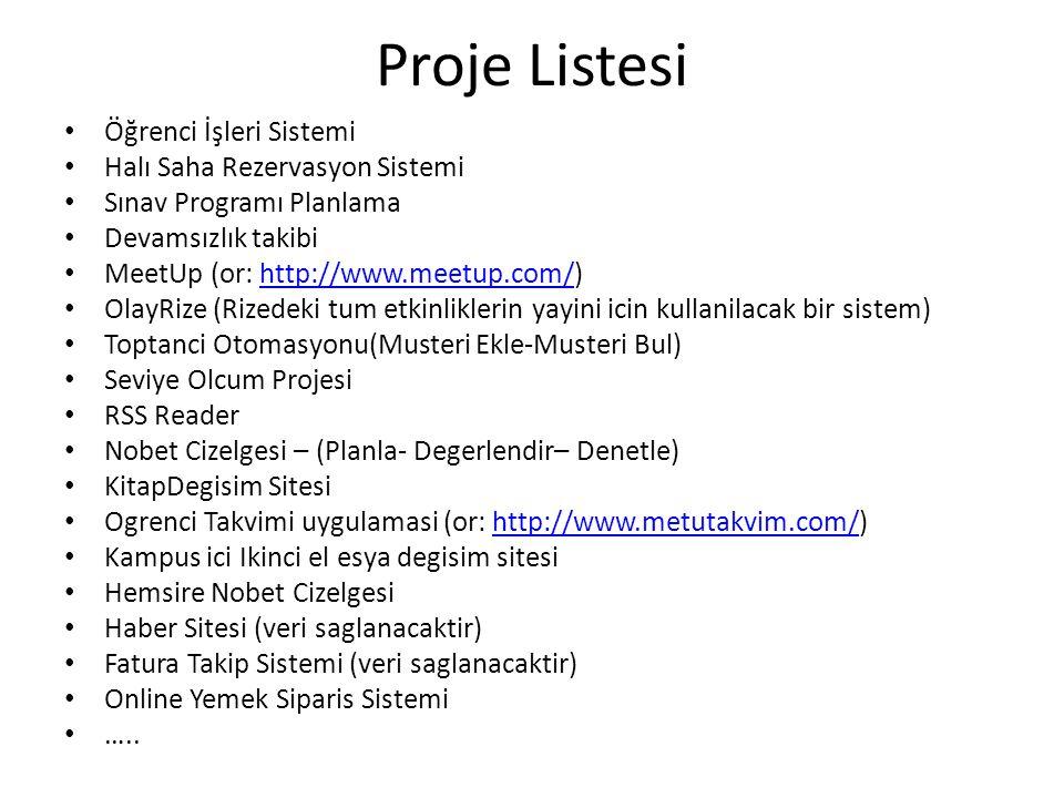 Proje Listesi Öğrenci İşleri Sistemi Halı Saha Rezervasyon Sistemi