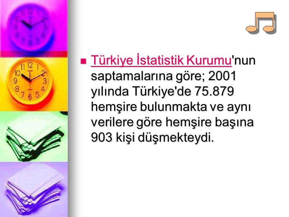 Türkiye İstatistik Kurumu nun saptamalarına göre; 2001 yılında Türkiye de 75.879 hemşire bulunmakta ve aynı verilere göre hemşire başına 903 kişi düşmekteydi.