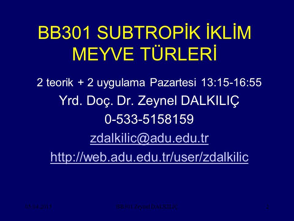 BB301 SUBTROPİK İKLİM MEYVE TÜRLERİ