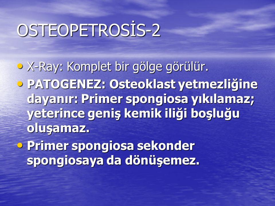 OSTEOPETROSİS-2 X-Ray: Komplet bir gölge görülür.