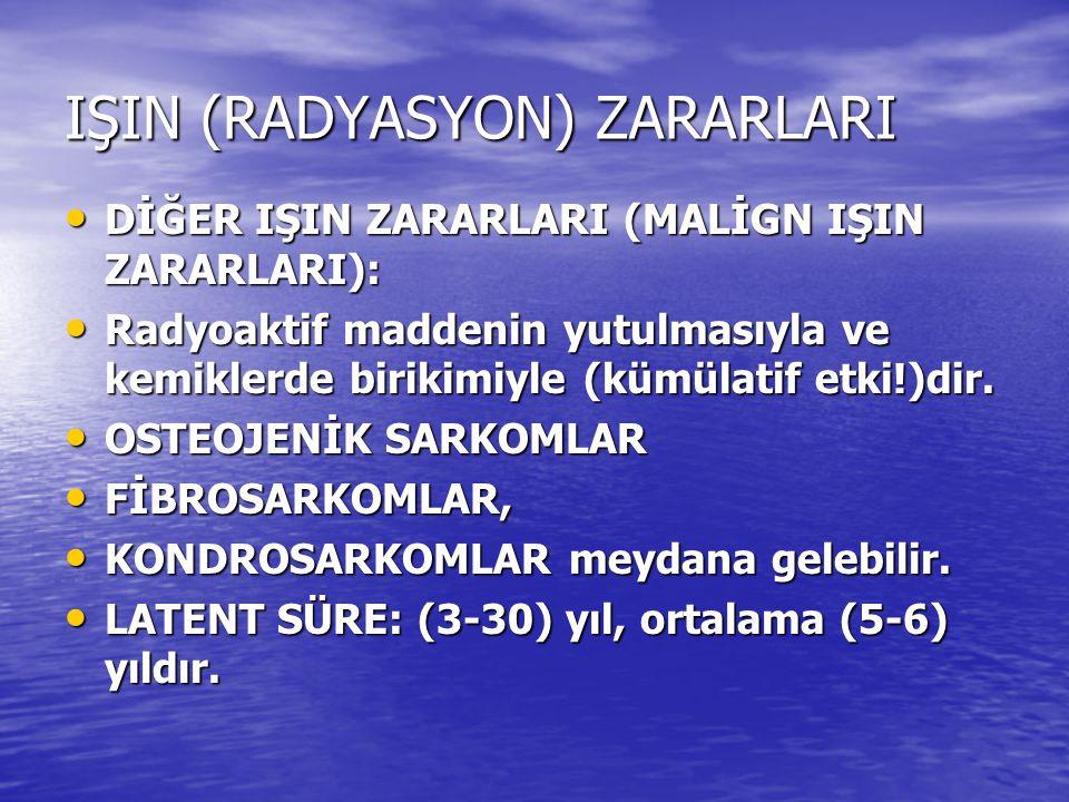 IŞIN (RADYASYON) ZARARLARI