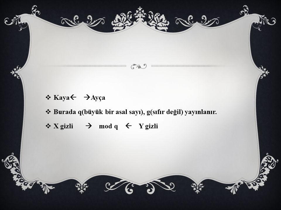Kaya Ayça Burada q(büyük bir asal sayı), g(sıfır değil) yayınlanır.