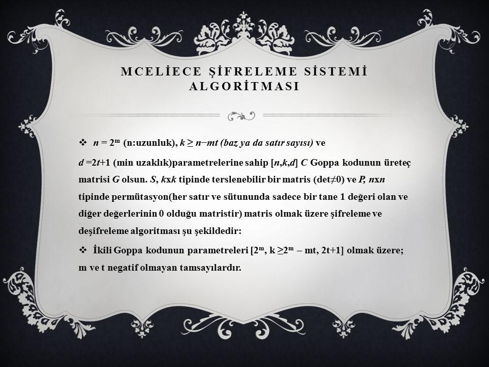 MCELİECE ŞİFRELEME SİSTEMİ ALGORİTMASI