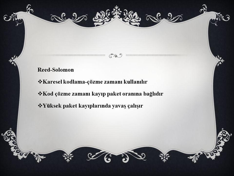 Reed-Solomon Karesel kodlama-çözme zamanı kullanılır. Kod çözme zamanı kayıp paket oranına bağlıdır.