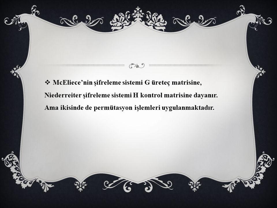 McEliece'nin şifreleme sistemi G üreteç matrisine, Niederreiter şifreleme sistemi H kontrol matrisine dayanır.