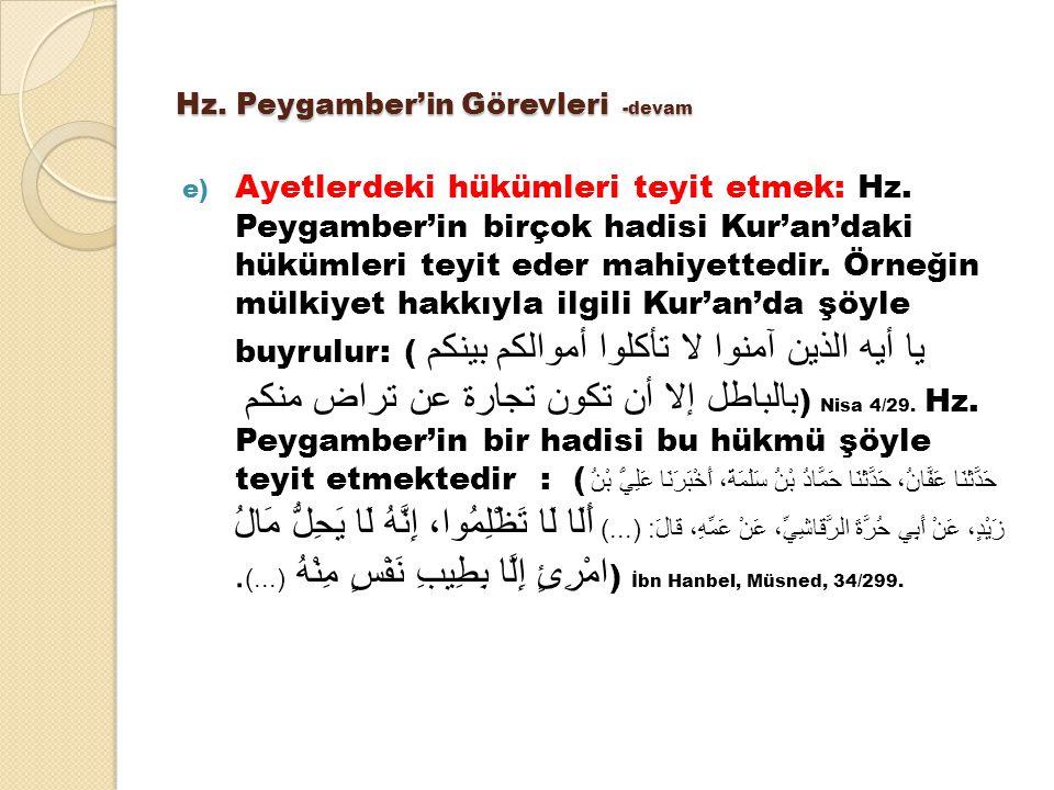 Hz. Peygamber'in Görevleri -devam