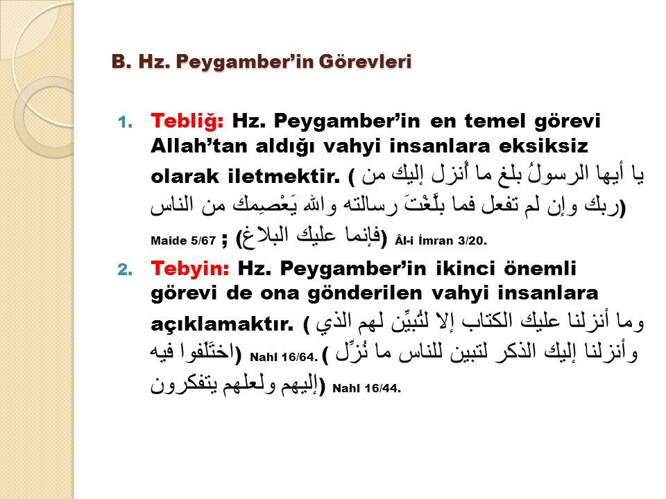 B. Hz. Peygamber'in Görevleri
