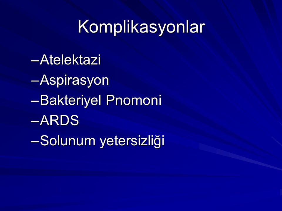 Komplikasyonlar Atelektazi Aspirasyon Bakteriyel Pnomoni ARDS