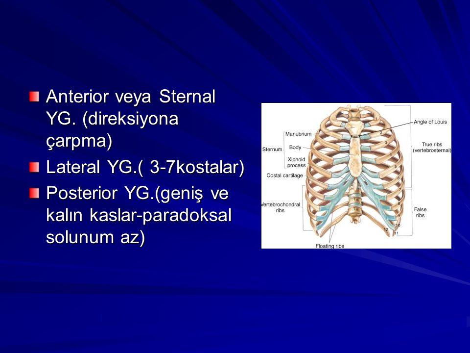 Anterior veya Sternal YG. (direksiyona çarpma)
