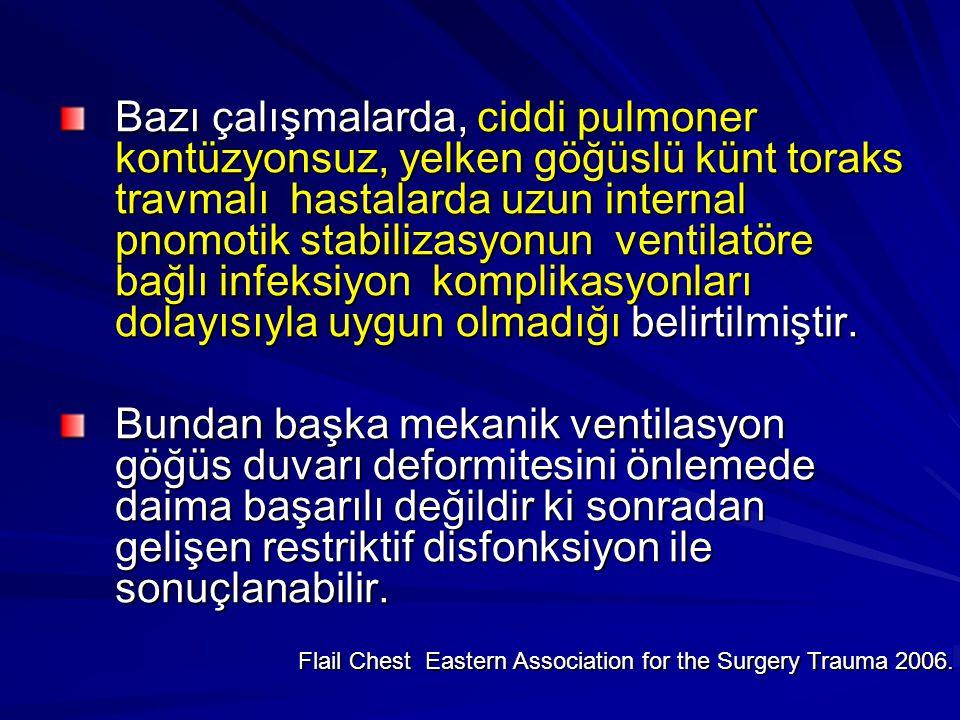Bazı çalışmalarda, ciddi pulmoner kontüzyonsuz, yelken göğüslü künt toraks travmalı hastalarda uzun internal pnomotik stabilizasyonun ventilatöre bağlı infeksiyon komplikasyonları dolayısıyla uygun olmadığı belirtilmiştir.