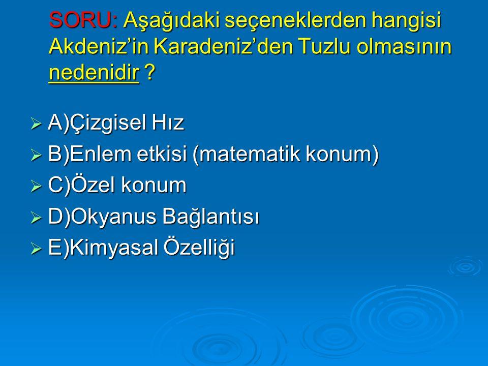SORU: Aşağıdaki seçeneklerden hangisi Akdeniz'in Karadeniz'den Tuzlu olmasının nedenidir
