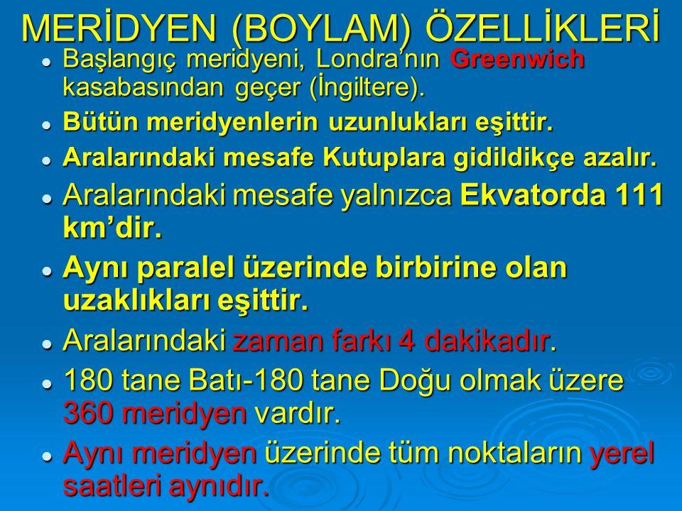 MERİDYEN (BOYLAM) ÖZELLİKLERİ