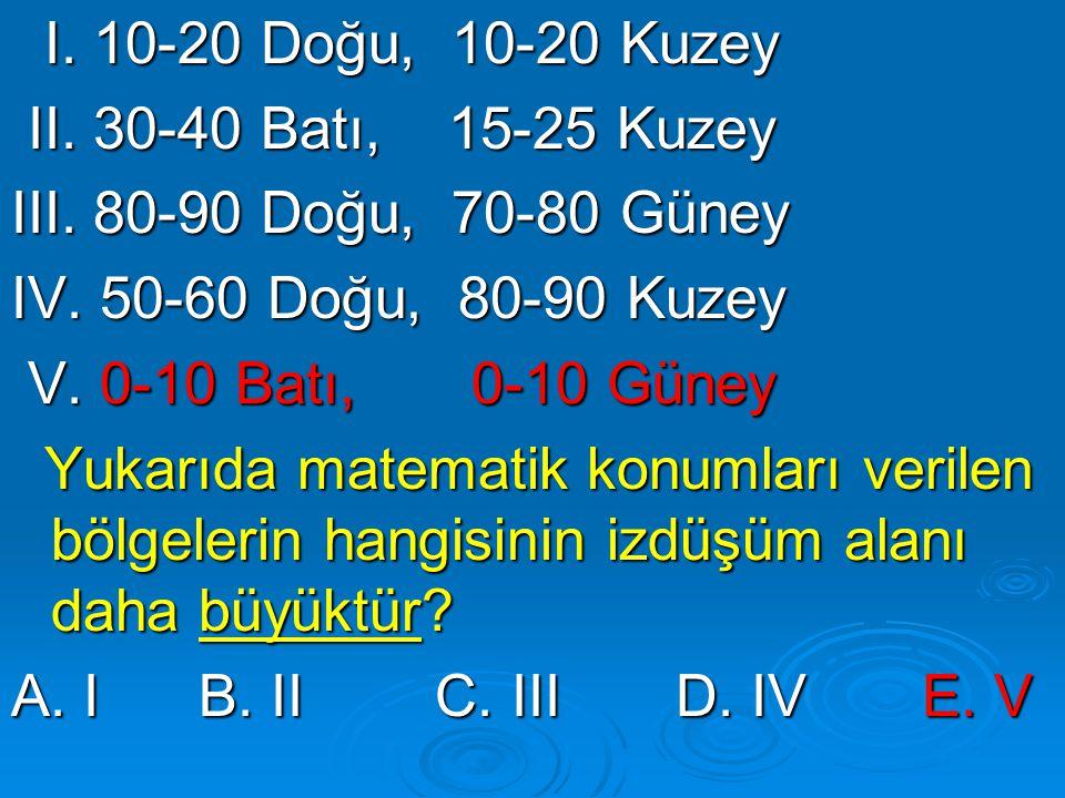 I. 10-20 Doğu, 10-20 Kuzey II. 30-40 Batı, 15-25 Kuzey. III. 80-90 Doğu, 70-80 Güney. IV. 50-60 Doğu, 80-90 Kuzey.