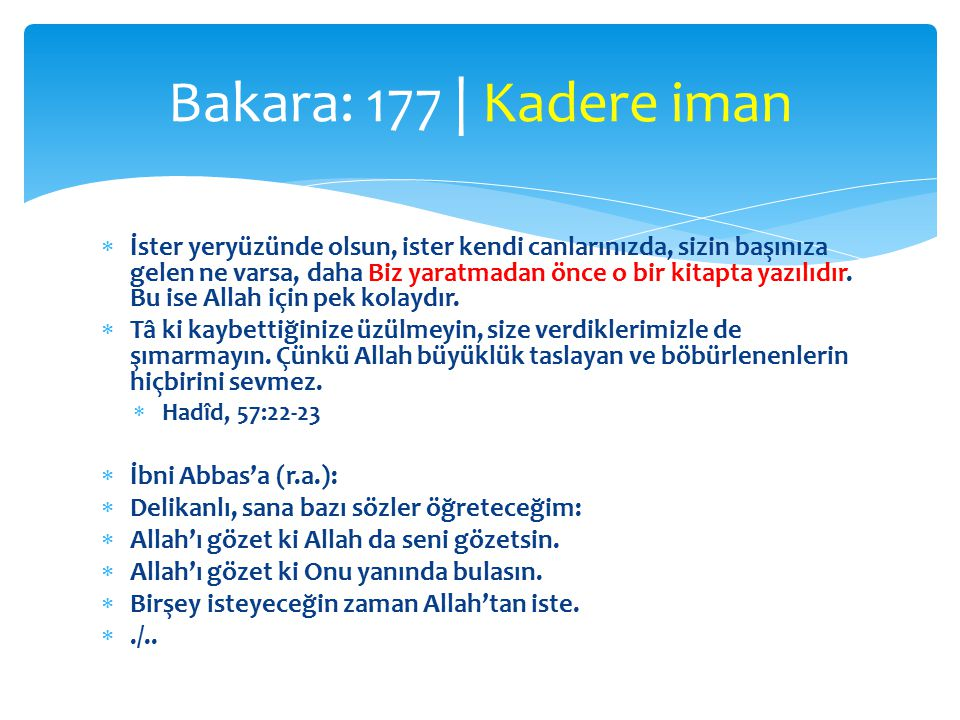 Bakara: 177 | Kadere iman