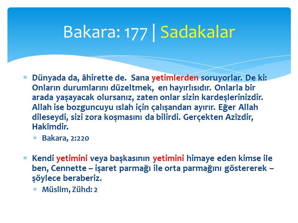 Bakara: 177 | Sadakalar