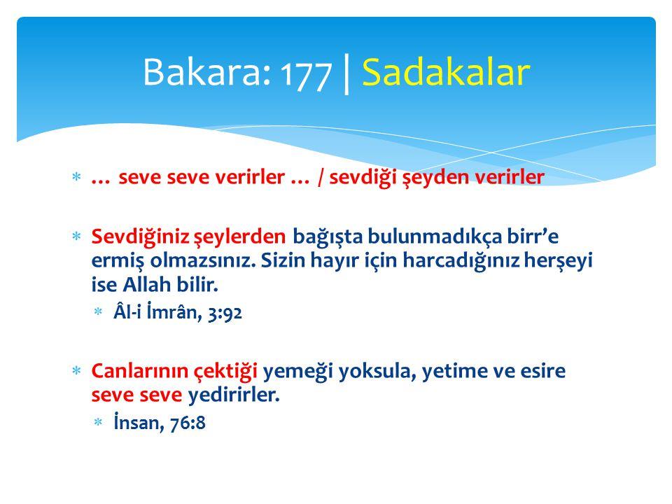 Bakara: 177 | Sadakalar … seve seve verirler … / sevdiği şeyden verirler.
