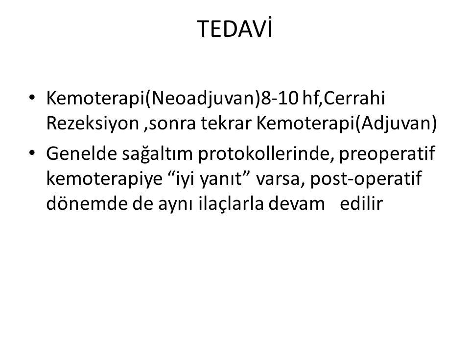 TEDAVİ Kemoterapi(Neoadjuvan)8-10 hf,Cerrahi Rezeksiyon ,sonra tekrar Kemoterapi(Adjuvan)