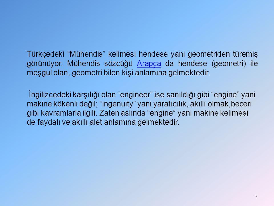 Türkçedeki Mühendis kelimesi hendese yani geometriden türemiş görünüyor.