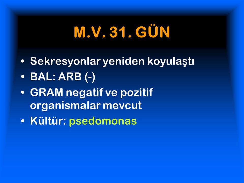 M.V. 31. GÜN Sekresyonlar yeniden koyulaştı BAL: ARB (-)