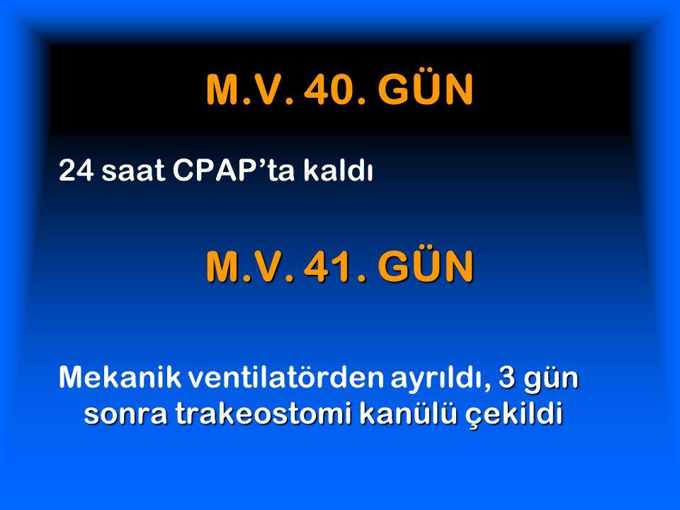 M.V. 40. GÜN M.V. 41. GÜN 24 saat CPAP'ta kaldı