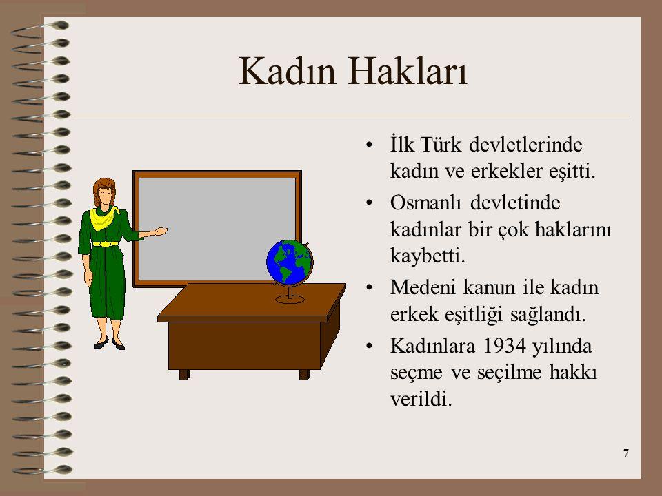 Kadın Hakları İlk Türk devletlerinde kadın ve erkekler eşitti.