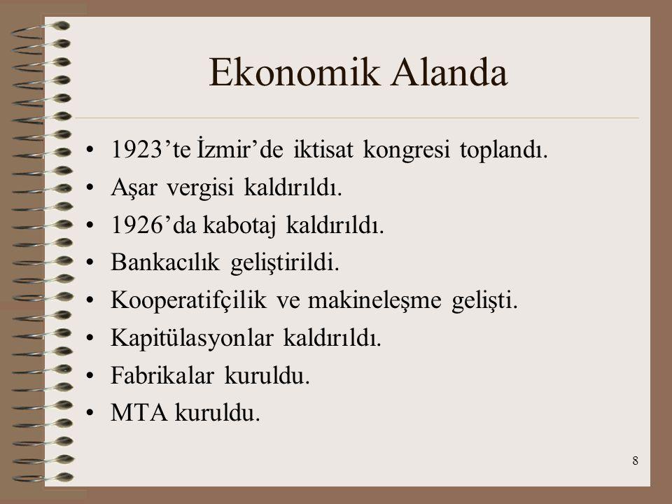 Ekonomik Alanda 1923'te İzmir'de iktisat kongresi toplandı.