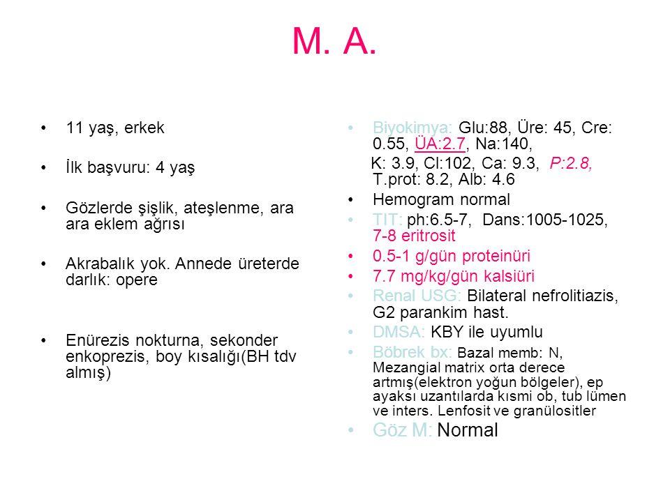M. A. Göz M: Normal 11 yaş, erkek İlk başvuru: 4 yaş