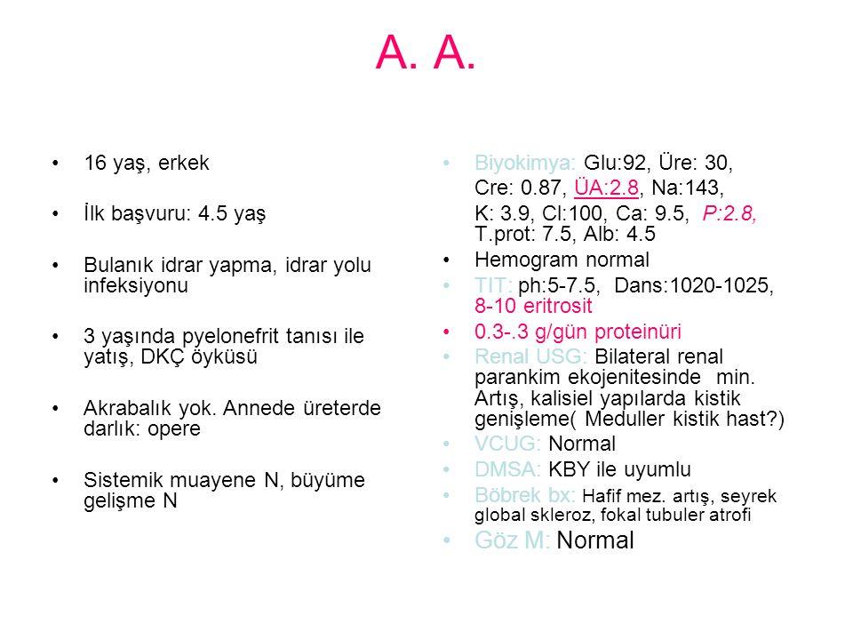 A. A. Göz M: Normal 16 yaş, erkek İlk başvuru: 4.5 yaş
