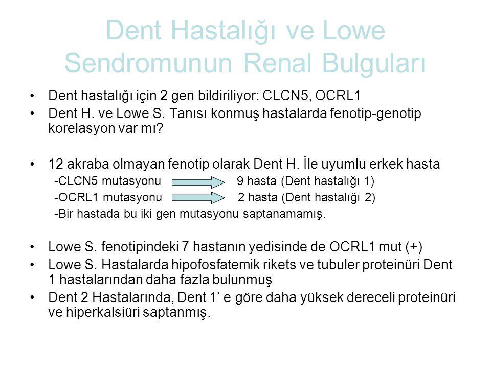 Dent Hastalığı ve Lowe Sendromunun Renal Bulguları