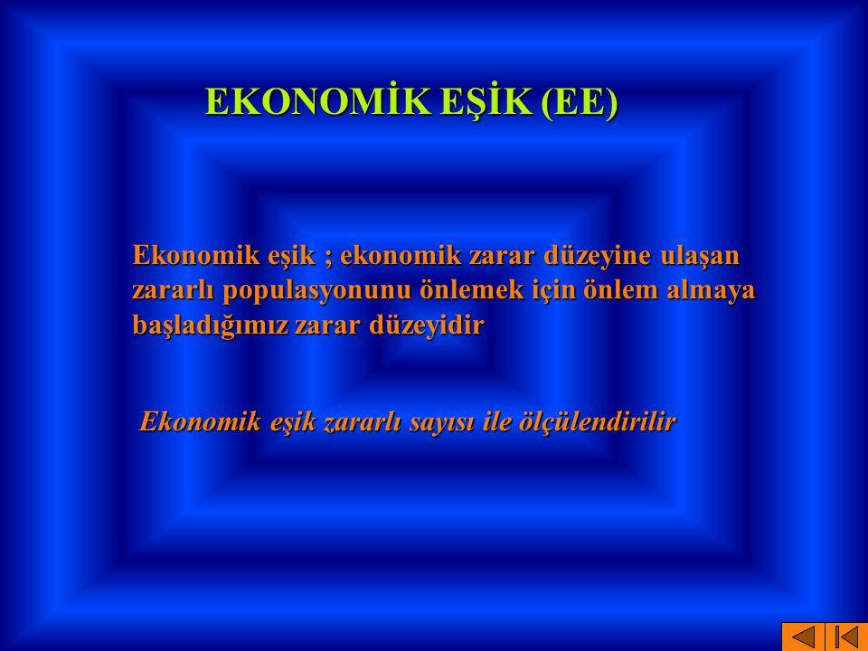 EKONOMİK EŞİK (EE) Ekonomik eşik ; ekonomik zarar düzeyine ulaşan