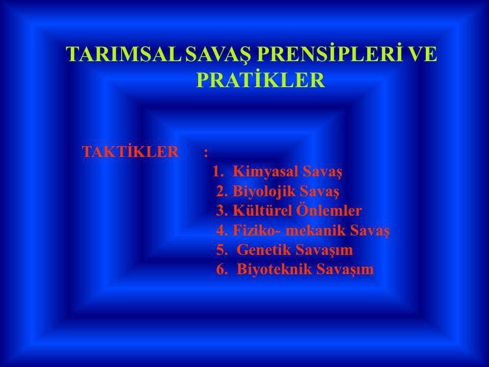 TARIMSAL SAVAŞ PRENSİPLERİ VE PRATİKLER