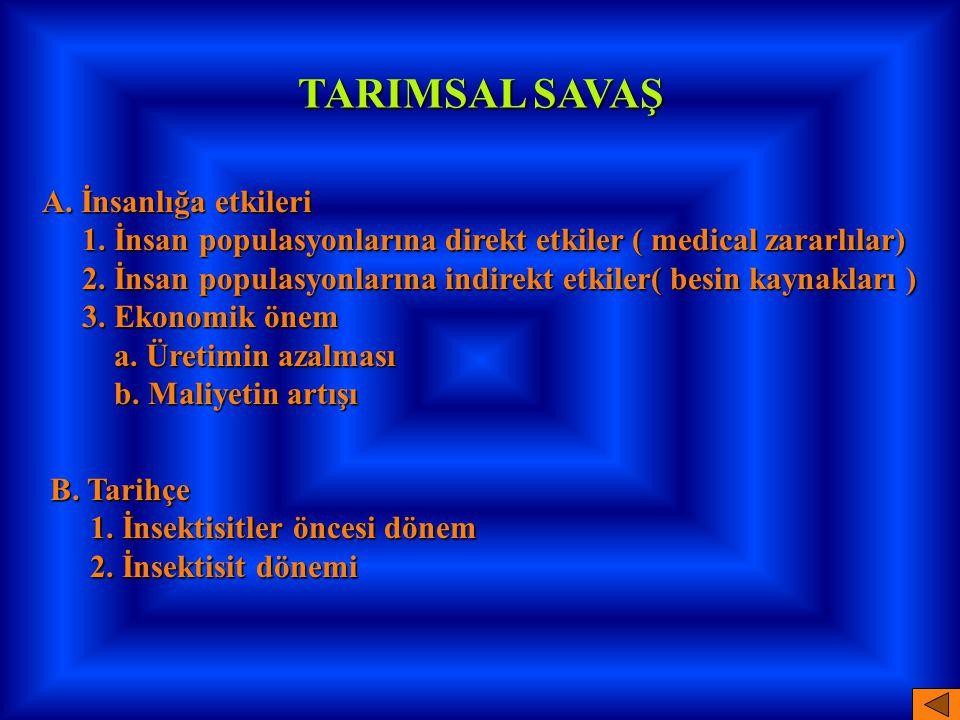 TARIMSAL SAVAŞ A. İnsanlığa etkileri