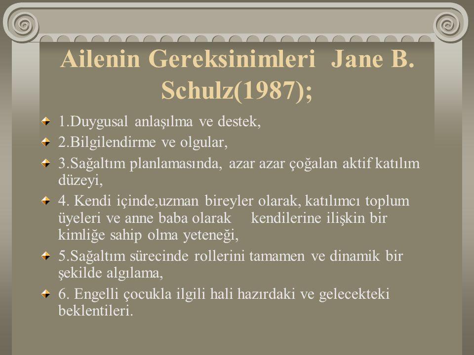 Ailenin Gereksinimleri Jane B. Schulz(1987);